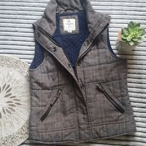 Brown and Blue Plaid Quilted Vest